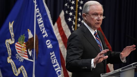 Attorney General Jeff Sessions makes remarks to incoming immigration judges for the Executive Office for Immigration Review (EOIR) September 10, 2018 in Falls Church, Virginia.