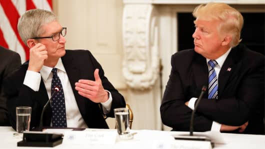Tim Cook, Chief Executive Officer of Apple, speaks as President Donald Trump listens during an American Technology Council roundtable in the State Dinning Room of the White House, Monday, June 19, 2017, in Washington.