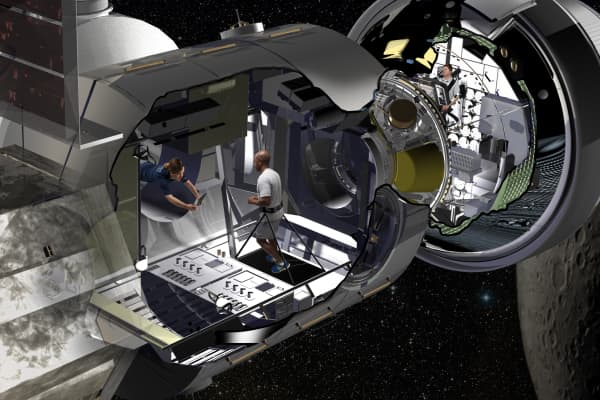 Artist rendering of the interior of the Lockheed Martin's lunar habitat in orbit around the Moon.