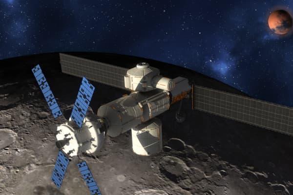 Artist rendering of Lockheed Martin's vision for NASA's deep space habitat orbiting the Moon.