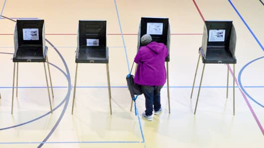 A woman votes in Durham, N.C.