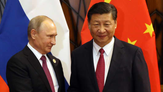 Chinese President Xi Jinping and Russian President Vladimir Putin in 2017.