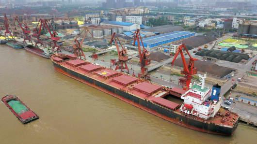 The Chinese port of Nantong in Jiangsu Province, China.