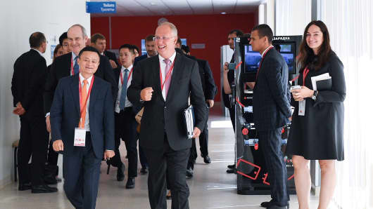 Alibaba's Jack Ma speaks to Kirill Dmitriev, the head of the RDIF, at the Eastern Economic Forum (EEF) in Vladivostok, Russia.