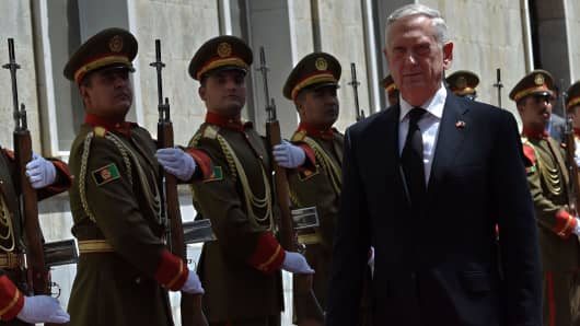 U.S. Secretary of Defense James N. Mattis arrives at the Afghan Presidential Office building, Kabul, Afghanistan, Sept. 7, 2018.