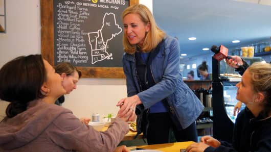 Democratic candidate for the U.S. Congress Maura Sullivan greets voters at Laney & Lu in Exeter, New Hampshire, U.S., September 10, 2018. Picture taken September 10, 2018.