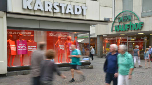 Stores of Kaufhof and Karstadt in Trier, Germany.