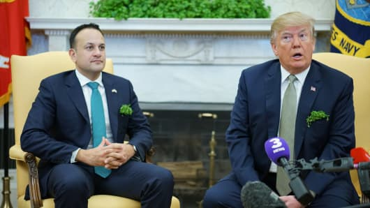 President Donald Trump (R) speaks during a meeting with Ireland's Prime Minister Leo Varadkar (L) in the Oval Office of the White House on March 15, 2018 in Washington, DC.