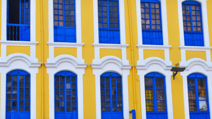 Colorful colonial facade in Quito, Ecuador
