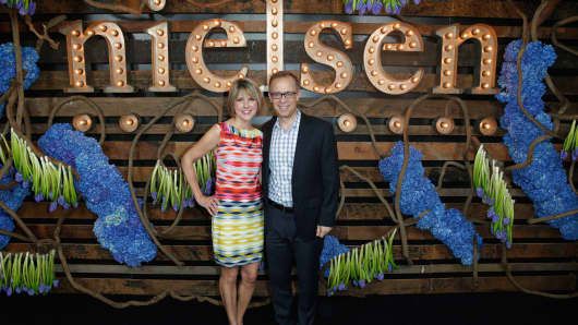 CEO of Nielsen, Mitch Barns and wife, Sharon Barns attend Nielsen Hosts Pre-GRAMMY Celebration Connecting Media Brands and Entertainment on February 7, 2015 in Los Angeles, California.