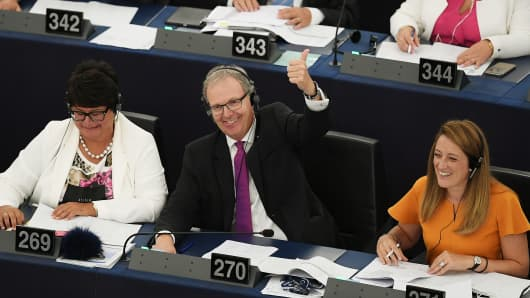 Member of European Parliament Axel Voss reacts after the vote on copyright in the Digital Single Market.