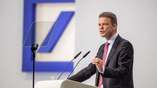 Christian Sewing, the new CEO of Deutsche Bank, speaks at the Deutsche Bank annual shareholders' meeting on May 24, 2018 in Frankfurt, Germany. Shareholders, frustrated by years of poor performance by Deutsche Bank, are calling for Achleitner to step down.