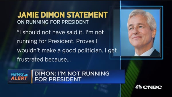 JP Morgan's Dimon: I'm not running for president
