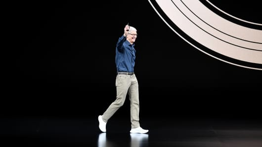 Tim Cook, chief executive officer of Apple Inc., arrives on stage during an event at the Steve Jobs Theater in Cupertino, California, U.S., on Wednesday, Sept. 12, 2018.