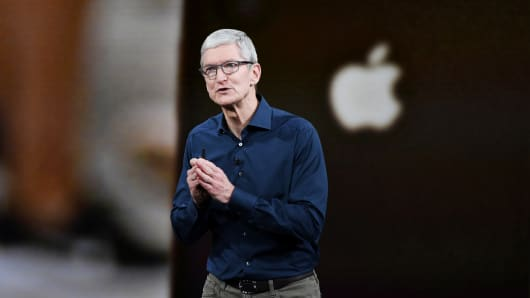 Tim Cook, chief executive officer of Apple Inc., speaks during an event at the Steve Jobs Theater in Cupertino, California, U.S., on Wednesday, Sept. 12, 2018.