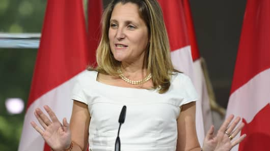 Canadian Foreign Minister Chrystia Freeland speaks at a press conference August 31, 2018 at the Embassy of Canada in Washington, DC.