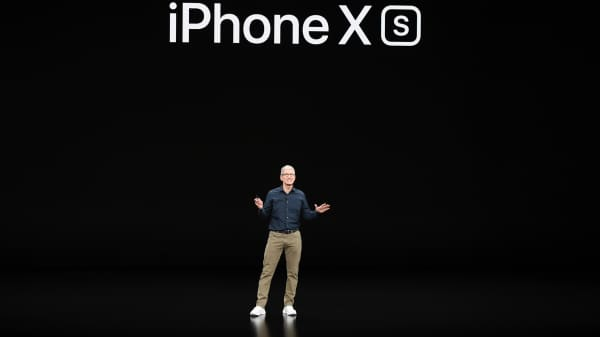 Tim Cook, chief executive officer of Apple Inc., speaks during an event at the Steve Jobs Theater in Cupertino, California, U.S., on Wednesday, Sept. 12, 2018. Apple will kick off a blitz of new products this week, ending a year of minor updates and setting the technology giant up for a potentially strong holiday quarter.