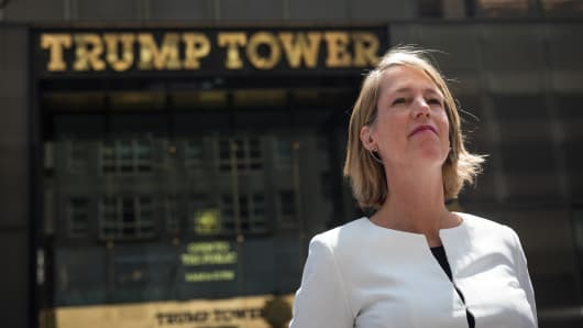 Zephyr Teachout, law professor at Fordham University and candidate for New York Attorney General, arrives for a press conference outside of Trump Tower in Midtown Manhattan, August 8, 2018 in New York City.