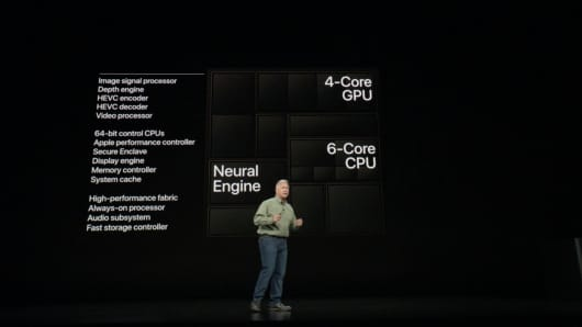 Apple's Phil Schiller talks about the neural engine and other features of the A12 bionic chip in new iPhones on Sept. 12, 2018.