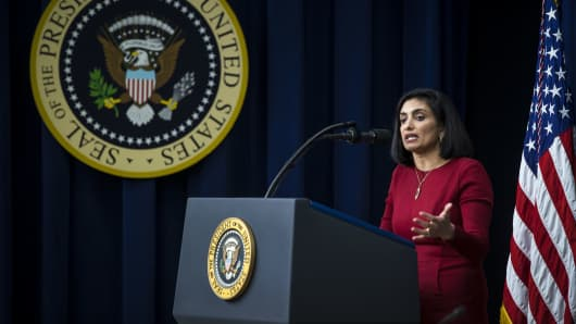 Seema Verma, administrator of the Centers for Medicare & Medicaid Services, speaks during a 'Conversations with the Women of America' event at the Eisenhower Executive Office Building in Washington, D.C.