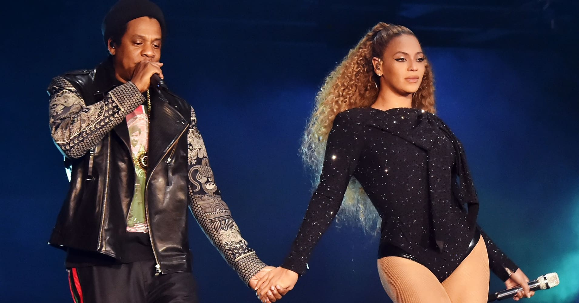 Jay-Z and Beyonce Knowles perform on stage during the 'On the Run II' tour opener at Principality Stadium