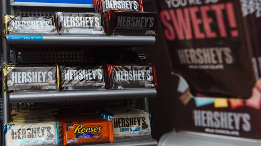 Chocolate bars are displayed for sale at the Hershey Co. Chocolate World store in Hershey, Pennsylvania, U.S., on Friday, July 13, 2018.