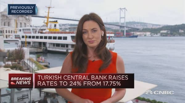 Turkish central bank hikes rates to 24 percent