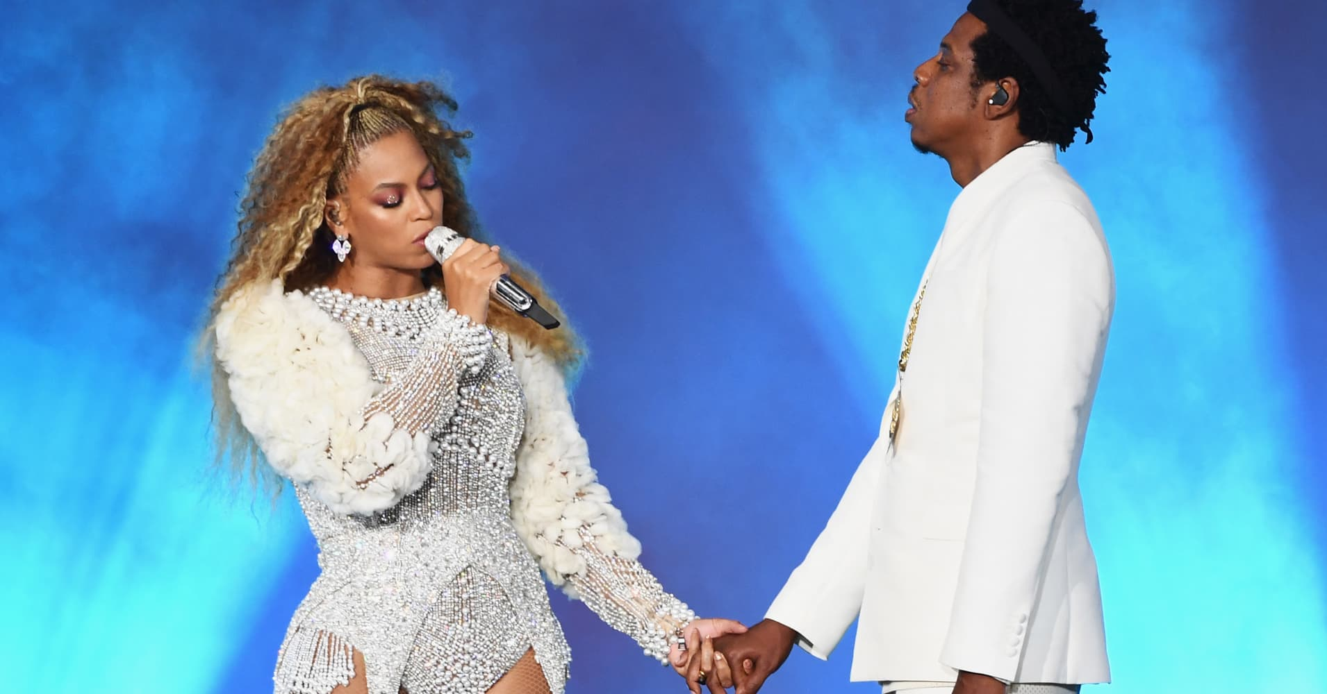 Beyonce and Jay-Z perform onstage during the 'On The Run II' Tour.