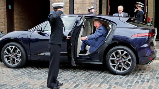 Prince Charles, Prince of Wales gets into his new chauffeur driven Jaguar I-PACE fully electric car following a visit to the newly refurbished 'Maiden' Yacht at HMS President on September 5, 2018 in London, England. The 'Maiden' Yacht was used by the first all-female crew to sail in the 1990 Whitbread Round the World Race in which they finished second.