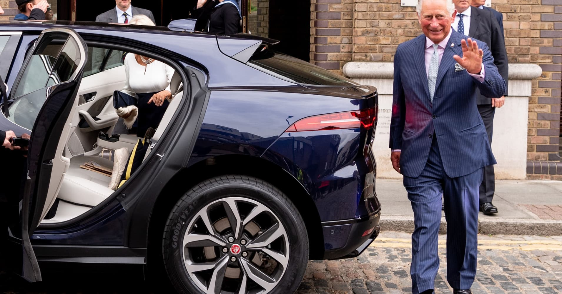 Prince Charles, Prince of Wales gets into the Royal Family's first all-electric car, the Jaguar I-Pace after a visit to the 'Maiden' yacht on September 5, 2018 in London, England.