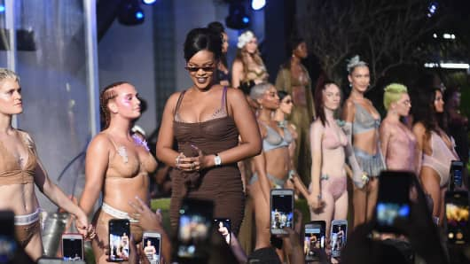 Rihanna walks the runway for the Savage X Fenty Fall/Winter 2018 fashion show during NYFW at the Brooklyn Navy Yard on September 12, 2018 in Brooklyn, NY.