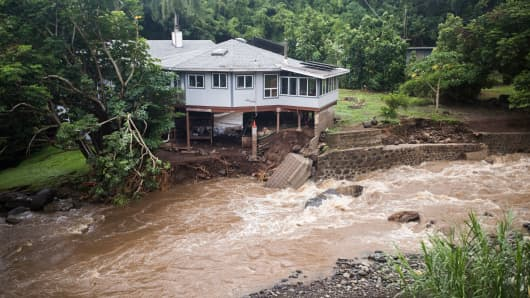 A home on Kahekili Highway near the Waihee River Bridge, was evacuated after a flash flood breached the property on Wednesday afternoon, Sept. 12, 2018, in Maui, Hawaii.