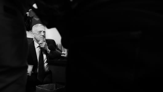 Secretary of Defense James Mattis speaks with reporters while on board the E-4B aircraft.