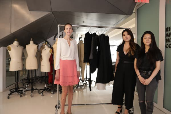 Christina Mallon worked with fashion designers Claudia Po and Amy Yu Chen (L to R) to design a pair of inflatable pants to help Mallon get dressed more easily.