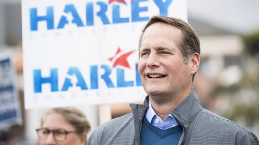 Harley Rouda, Democrat running for California's 48th Congressional district seat in Congress, listens to speakers during his campaign rally in Laguna Beach, Calif., on May 20, 2018.
