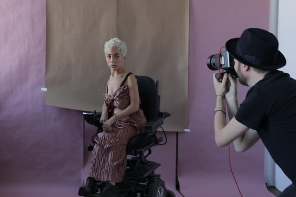 Fashion model Jillian Mercado at a shoot for Herring & Herring magazine.