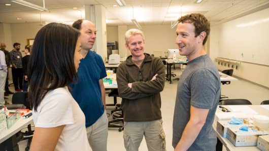 Left to right: Priscilla Chan, Biohub co-presidents Stephen Quake and Joe DeRisi, and Mark Zuckerberg
