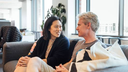 Priscilla Chan and CZI Biohub co-president Joe DeRisi
