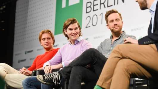 Revolut CEO Nikolay Storonsky, N26 CEO Valentin Stalf and Monzo CEO Tom Blomfield talk at TechCrunch Disrupt Berlin 2017.