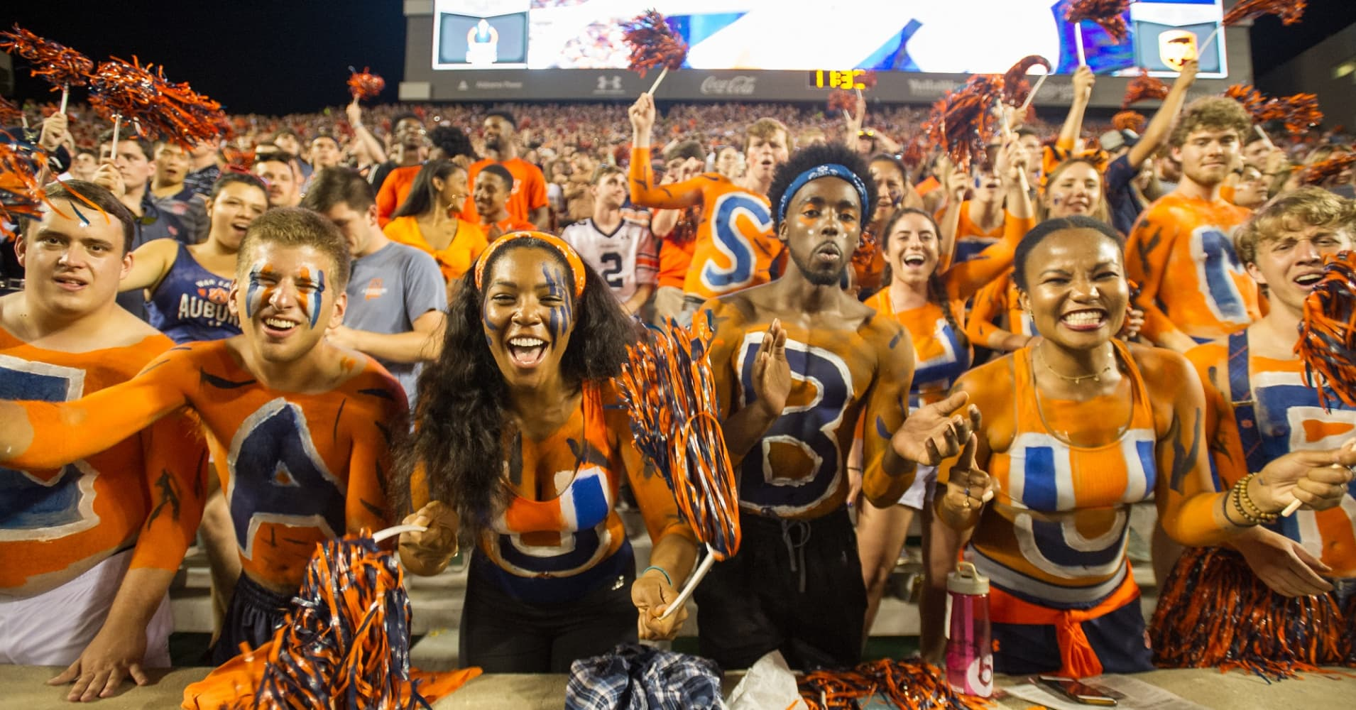Fans of the Auburn Tigers cheer for their team during their game against the Alabama State Hornets at Jordan-Hare Stadium on September 8, 2018 in Auburn, Alabama.