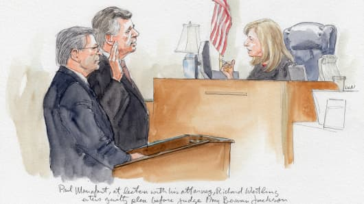 A courtroom sketch showing Paul Manafort agreeing to a guilty plea on Sept. 14th, 2018.