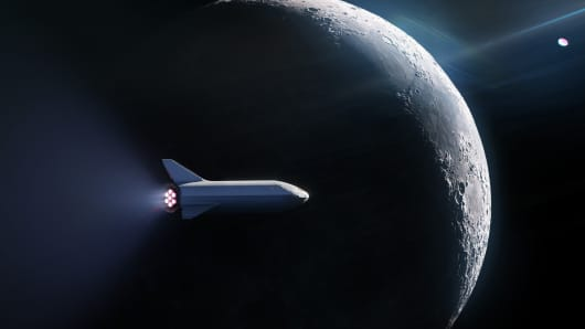 A rendering shows a SpaceX BFR launch vehicle on a trip around the Moon.