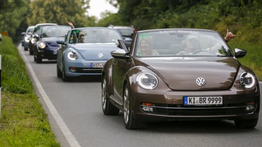 Beetles during the 12th Beetle Sunshine Tour To Travemuende the 12th Beetle Sunshine Tour on August 20, 2016 in Luebeck, Germany.