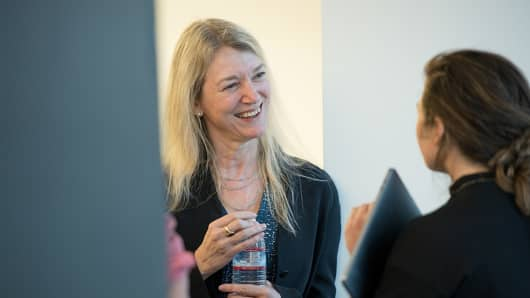 Cori Bargmann, head of science for CZI (left) talks to program manager Rebecca Egger