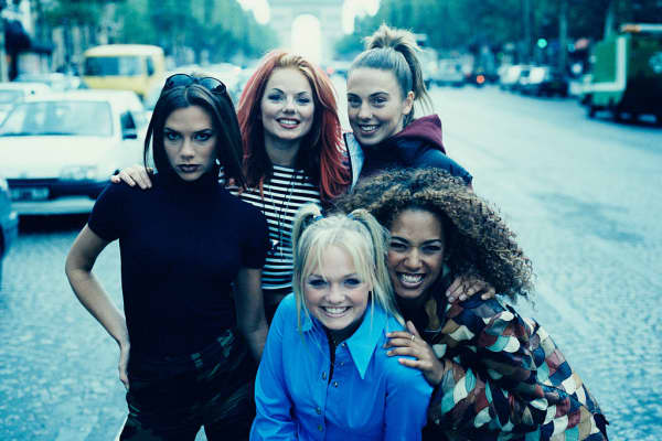 Victoria Beckham, left, and other members of The Spice Girls in Paris, September 1996