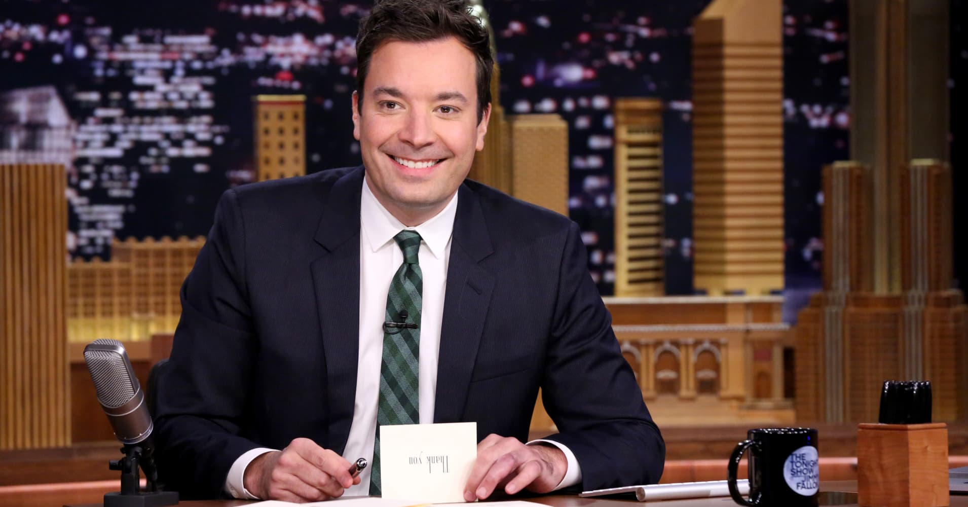 THE TONIGHT SHOW STARRING JIMMY FALLON -- Episode 0367 -- Pictured: Host Jimmy Fallon during Thank You Notes on November 13, 2015 -- (Photo by: Douglas Gorenstein/NBC/NBCU Photo Bank via Getty Images)