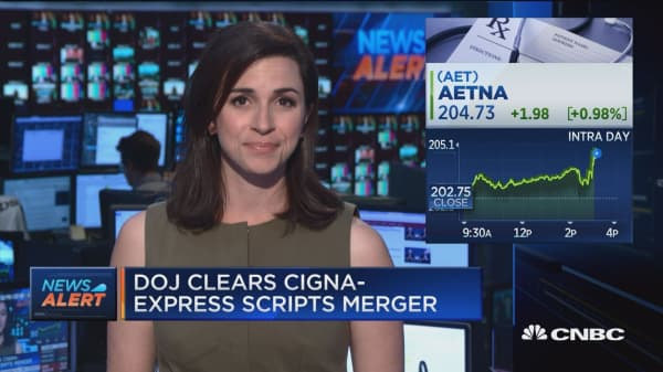 Justice Department clears Cigna-Express Scripts merger