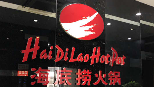 A Haidilao Hot Pot restaurant is seen at a mall on May 22, 2018 in Beijing, China. Haidilao International Holding, Chinese mainland's hotpot restaurant chain, plans to hold its initial public offering (IPO) press conference on Wednesday in Hong Kong.