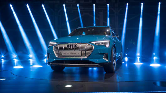 The new Audi AG E-Tron all-electric sport utility vehicle (SUV) stands during a launch event in Richmond, California, U.S., on Monday, Sept. 17, 2018.