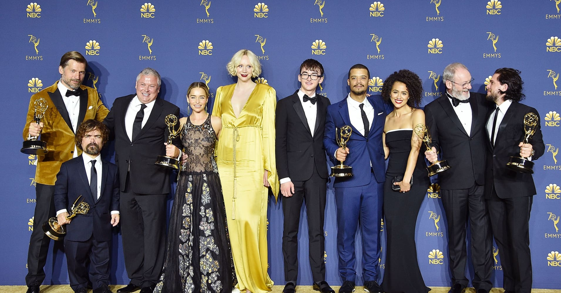 (L-R) Nikolaj Coster-Waldau, Peter Dinklage, Conleth Hill, Emilia Clarke, Gwendoline Christie, Isaac Hempstead Wright, Jacob Anderson, Nathalie Emmanuel, Liam Cunningham and Kit Harington of 'Game of Thrones' attend the 70th Emmy Awards.